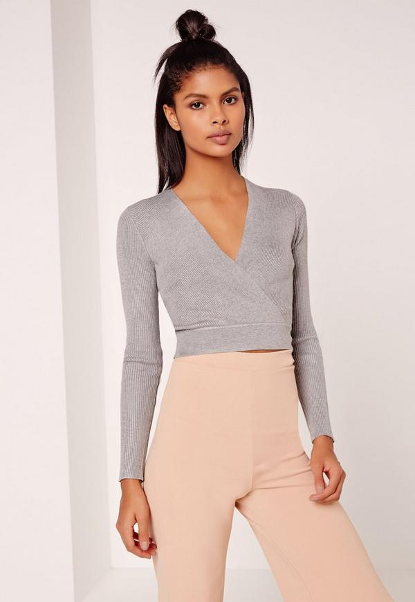 Basic Long Sleeve Wrap Over Ribbed Crop Top Grey