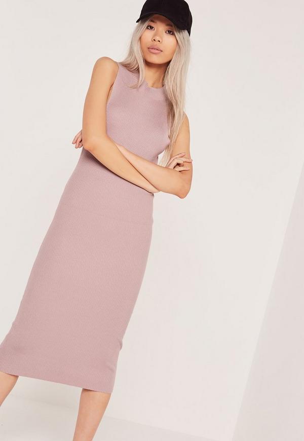 Basic Sleeveless Round Neck Midi Dress