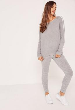 Grey Stripe Raglan Jumper