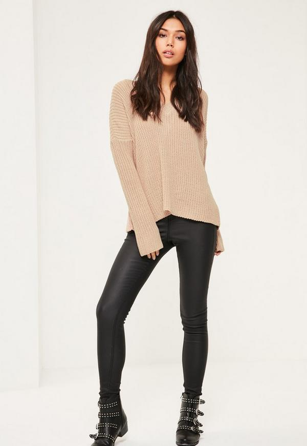 Camel Lace Up Back Knitted Jumper Missguided