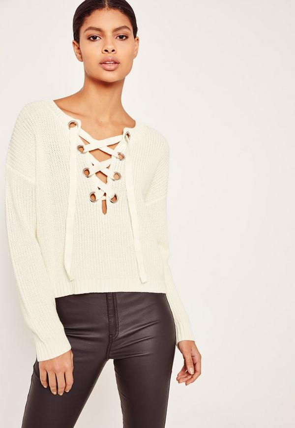 Chunky Eyelet Lace Up Jumper Cream