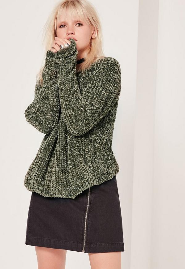 Cosy Chunky Knitted Jumper Khaki