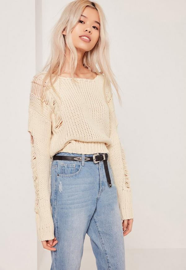 Ladder Shoulder Distressed Crop Jumper White
