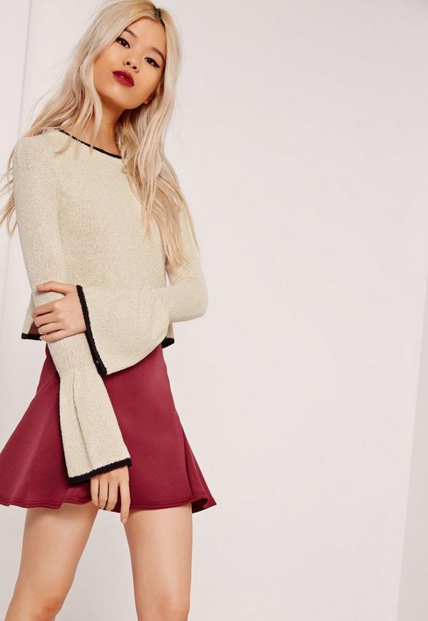 Tipped Flared Sleeve Crop Jumper Nude