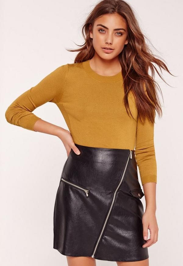 Ribbed Side Cropped Jumper Yellow