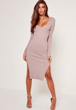 V Neck Side Split Midi Dress Lilac