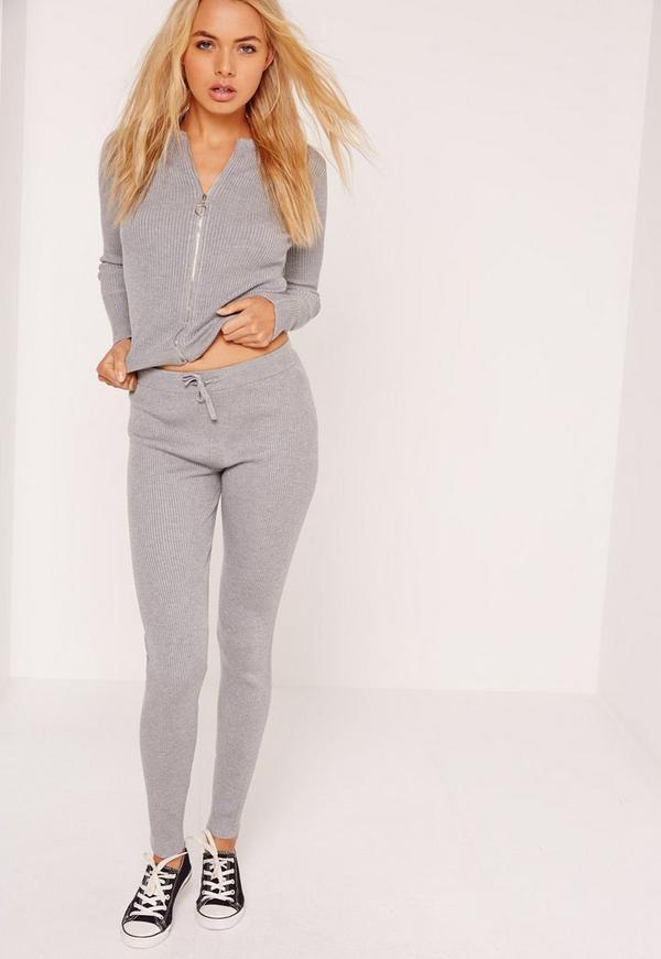 Ribbed Leggings Grey