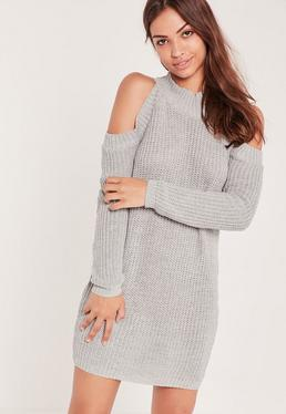 Cold Shoulder Chunky Stitch Mini Jumper Dress Grey