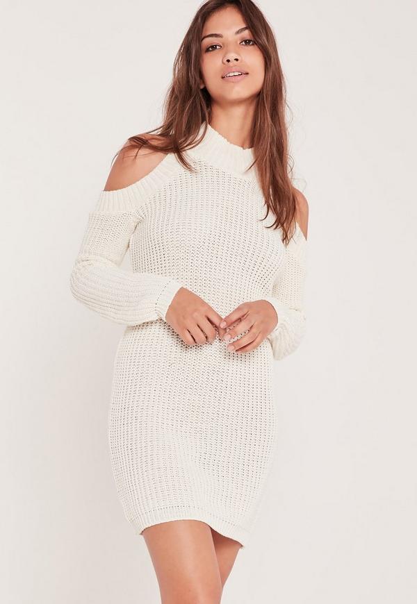 Cold Shoulder Chunky Stitch Mini Dress White