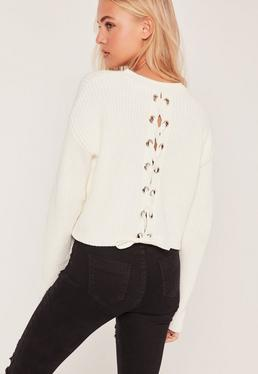 Cream Lace Up Back Boxy Sweater