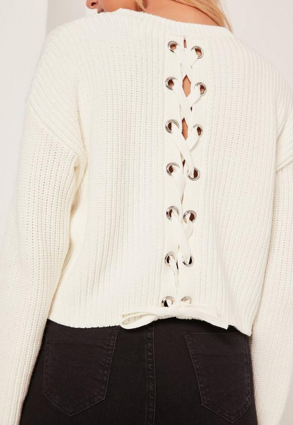 Cream Lace Up Back Boxy Sweater Missguided