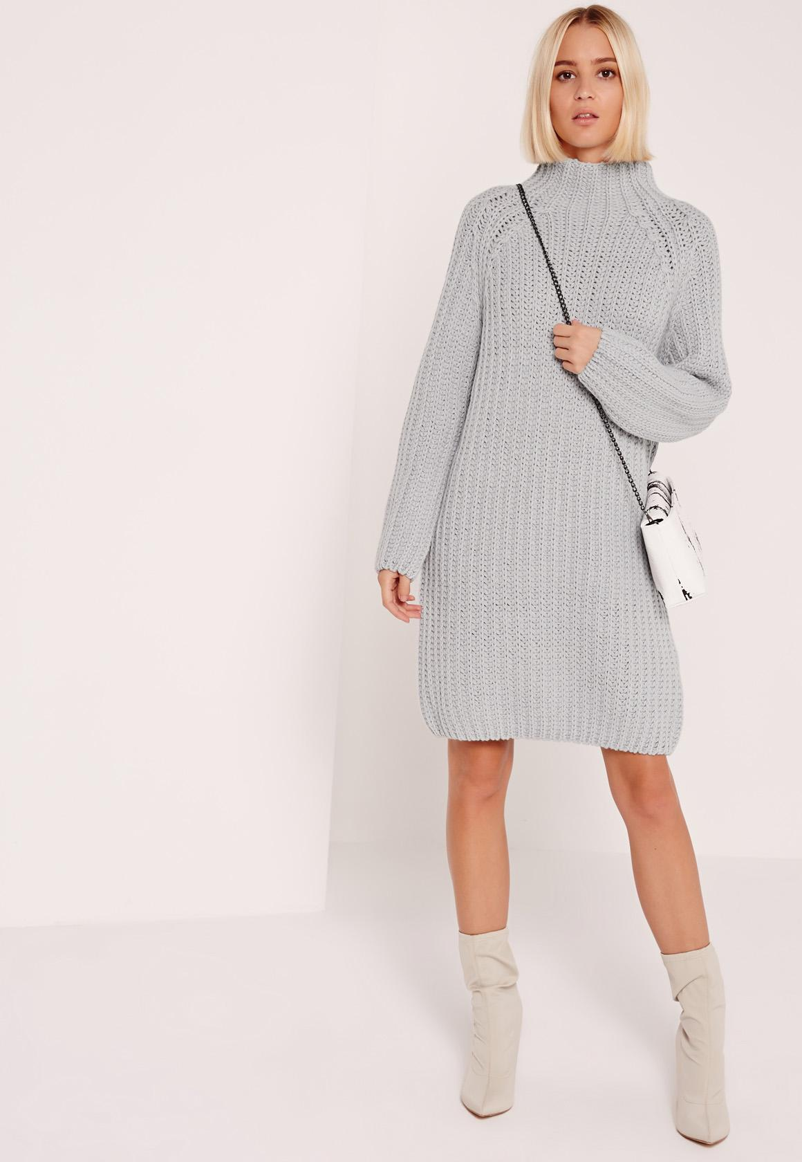 Oversized Mini Sweater Dress Grey | Missguided