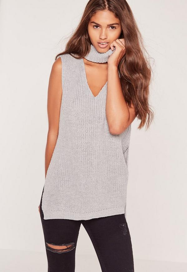 Choker Neck Chunky Tunic Grey