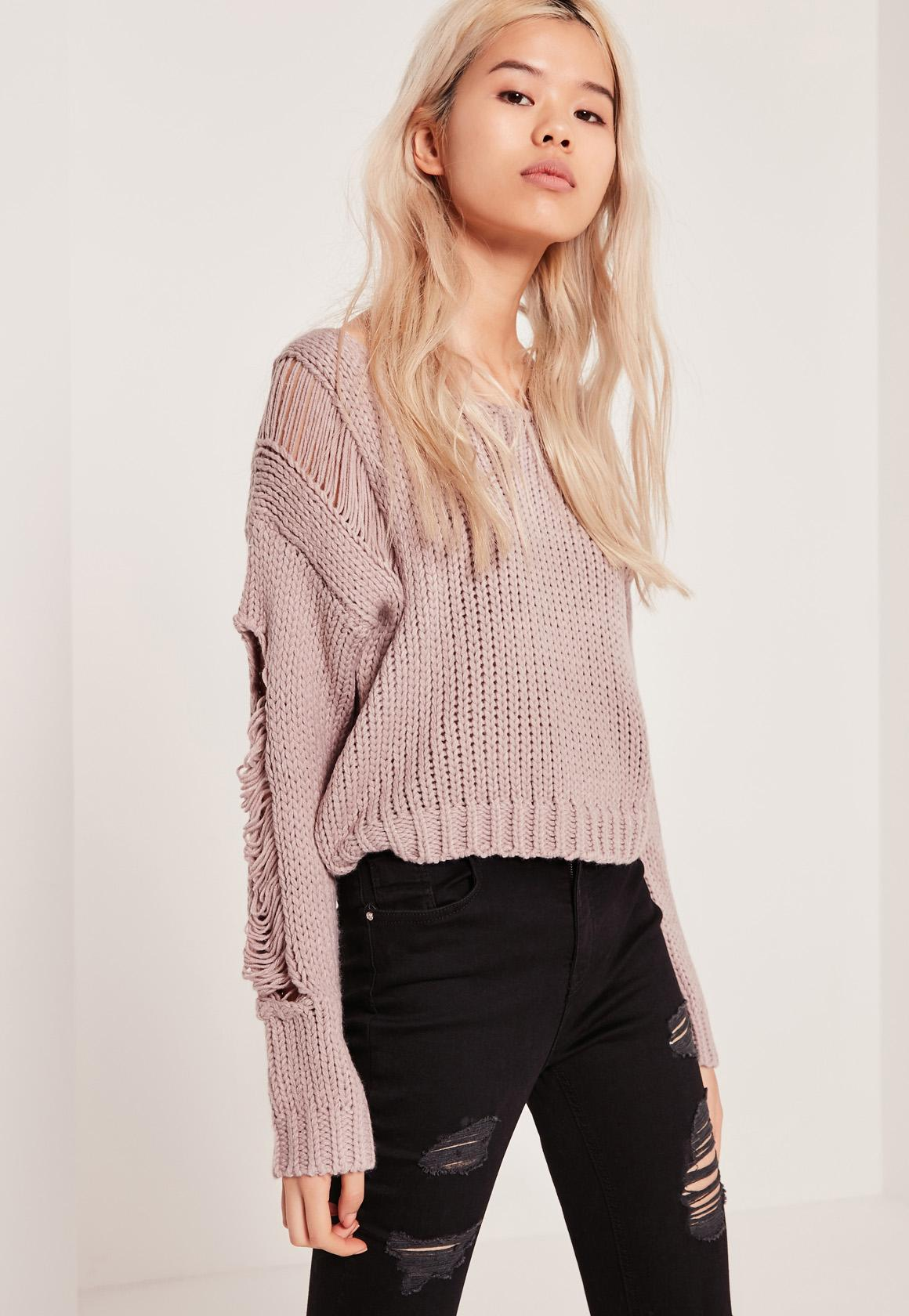 Purple Ladder Shoulder Distressed Cropped Sweater | Missguided