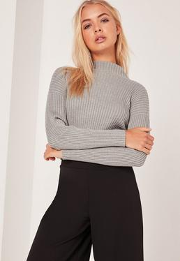 Crop top gris col montant
