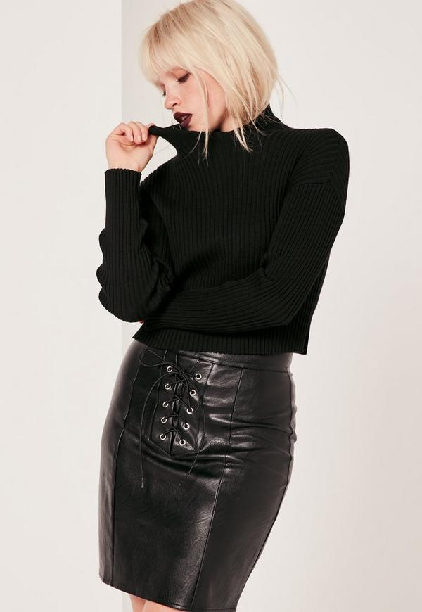 High Neck Crop Top Black