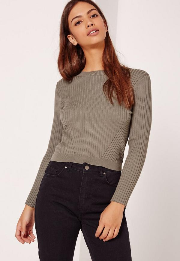 Panelled Ribbed Basic Crop jumper Khaki