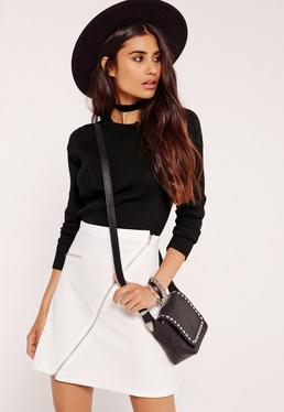 Black Paneled Ribbed Basic Cropped Sweater