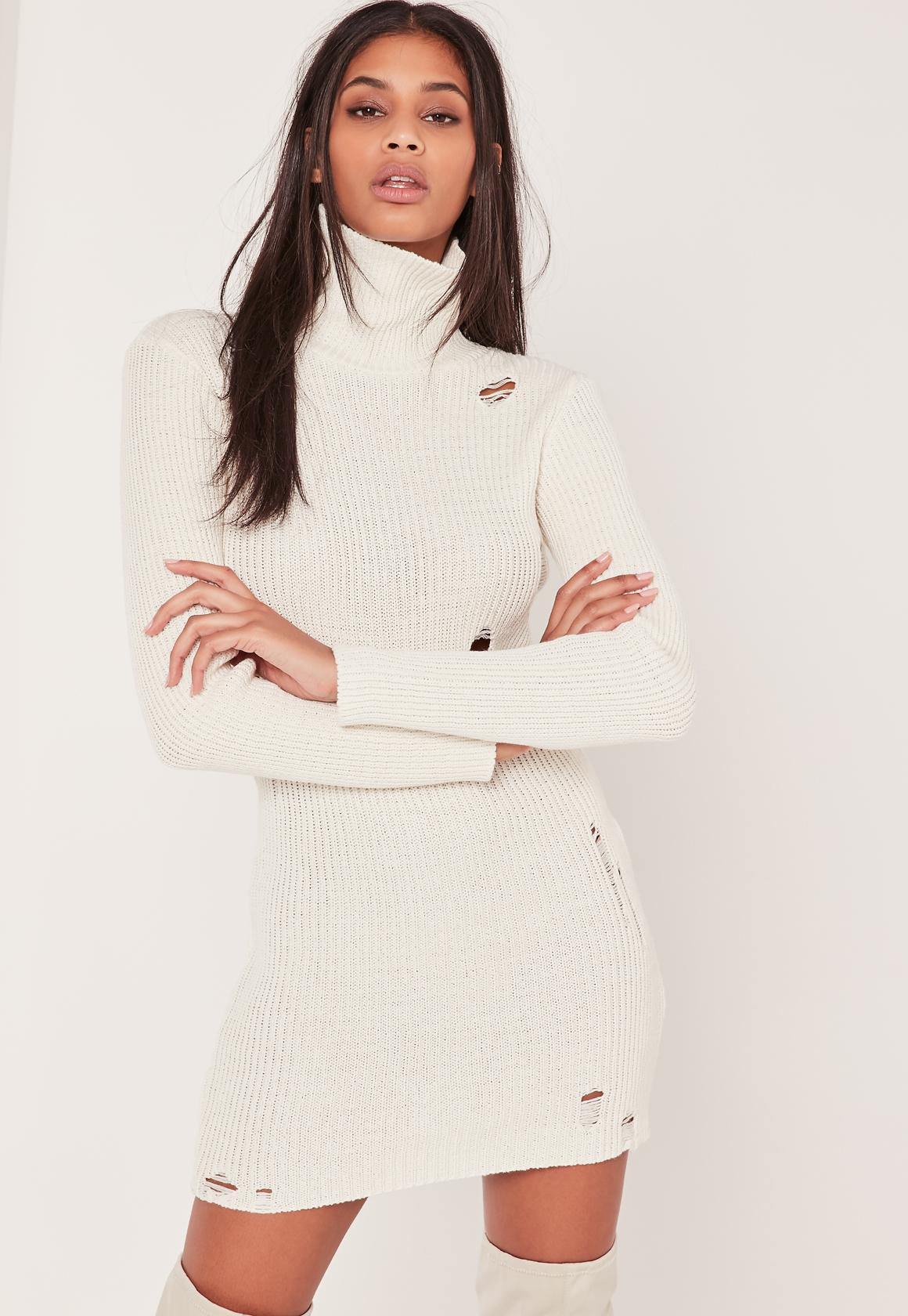 Cream Distressed Roll Neck Sweater Dress   Missguided
