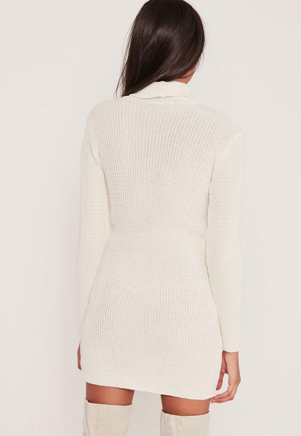 Distressed Roll Neck Jumper Dress Cream