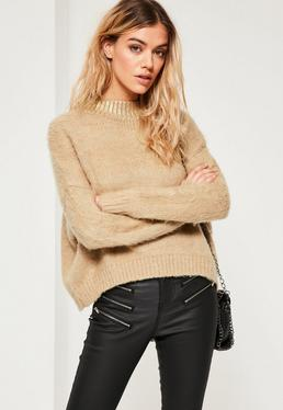 Camel Fluffy Foiled High Neck Sweater