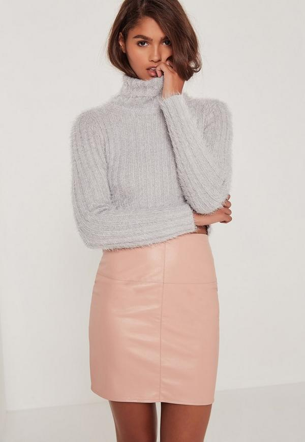 Fluffy Roll Neck Cropped Jumper Grey