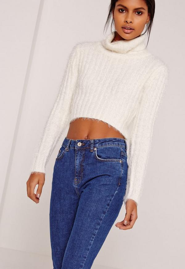 cream fluffy roll neck cropped sweater missguided. Black Bedroom Furniture Sets. Home Design Ideas