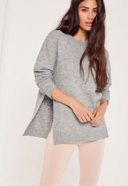 High Neck Brushed Rib Detail Side Split Jumper Grey