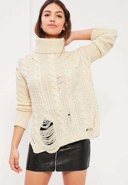 Cream Distressed Roll Neck Cable Jumper