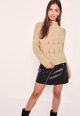 Camel High Neck Chunky Cable Cropped Sweater