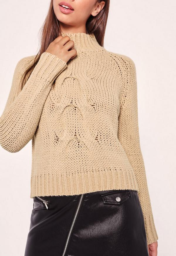 Camel High Neck Chunky Cable Cropped Sweater | Missguided