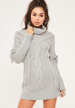Grey Cable Fringe Sleeve Knitted Mini Dress