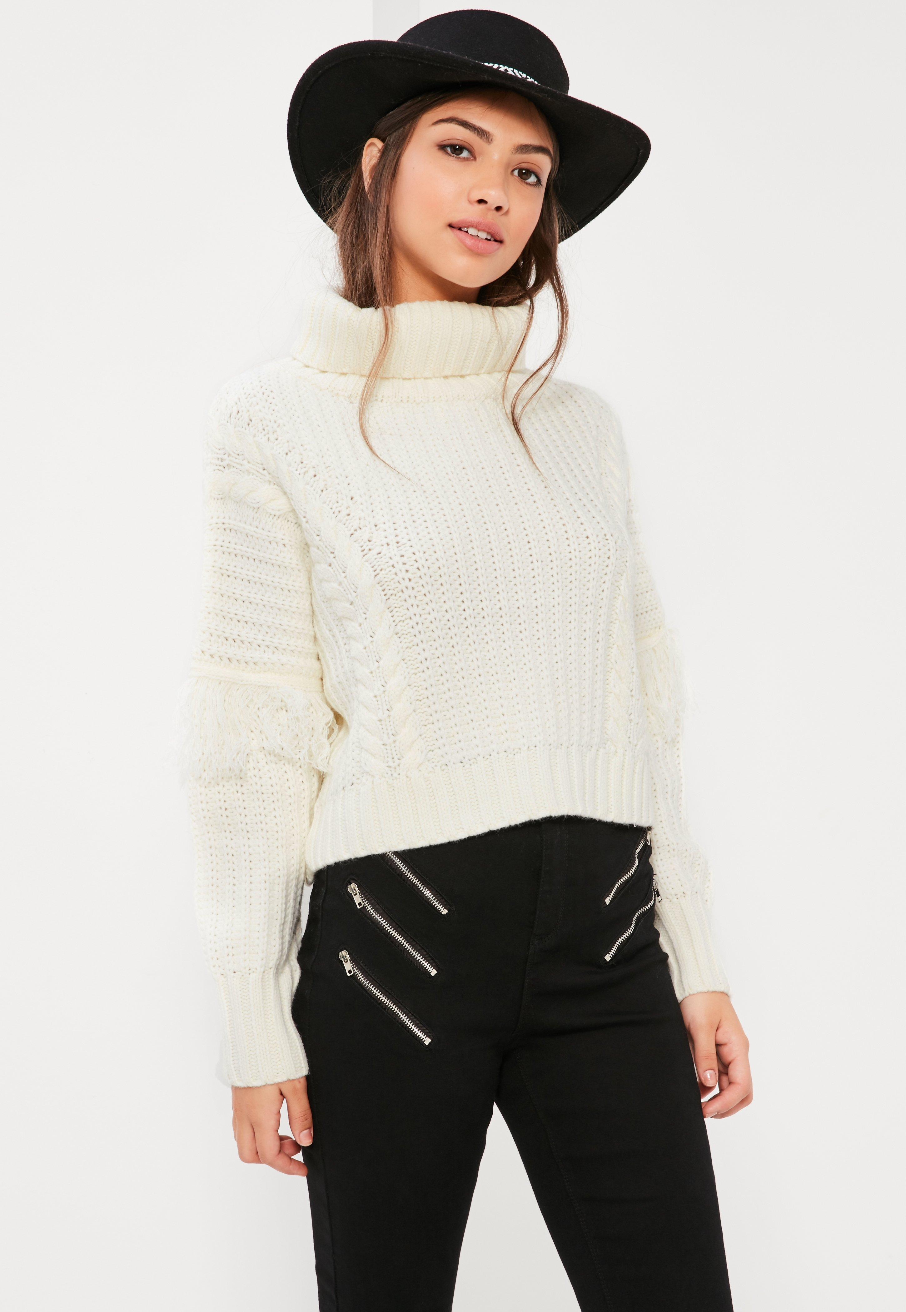 Cream Roll Neck Fringe Sleeve Cable Jumper