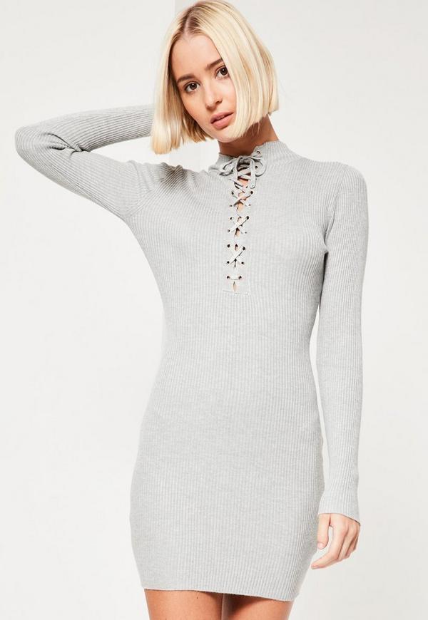 Grey Lace Up Front Mini Jumper Dress