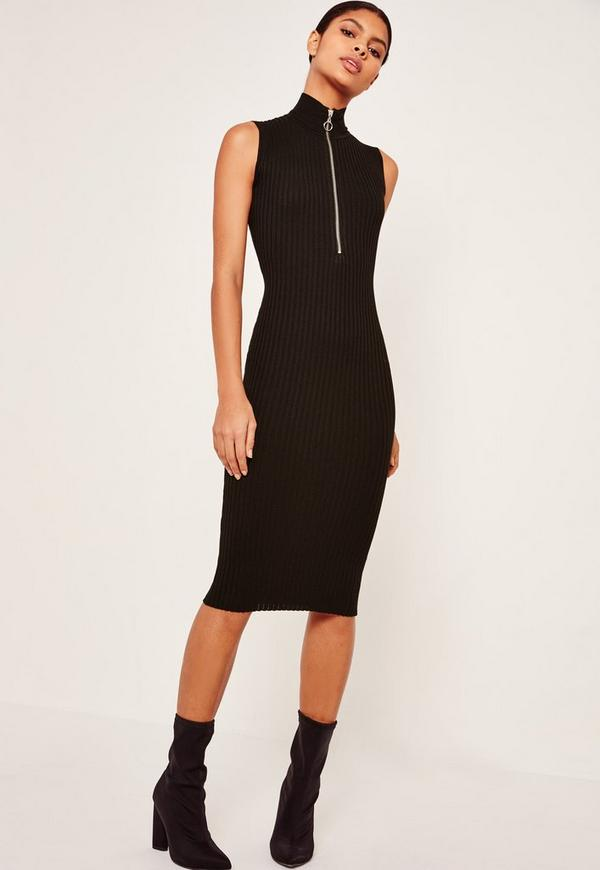 Zip Up High Neck Midi Dress Black