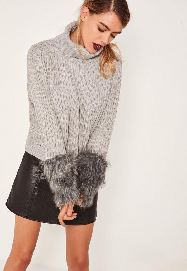 Grey Fur Cuff Roll Neck Jumper