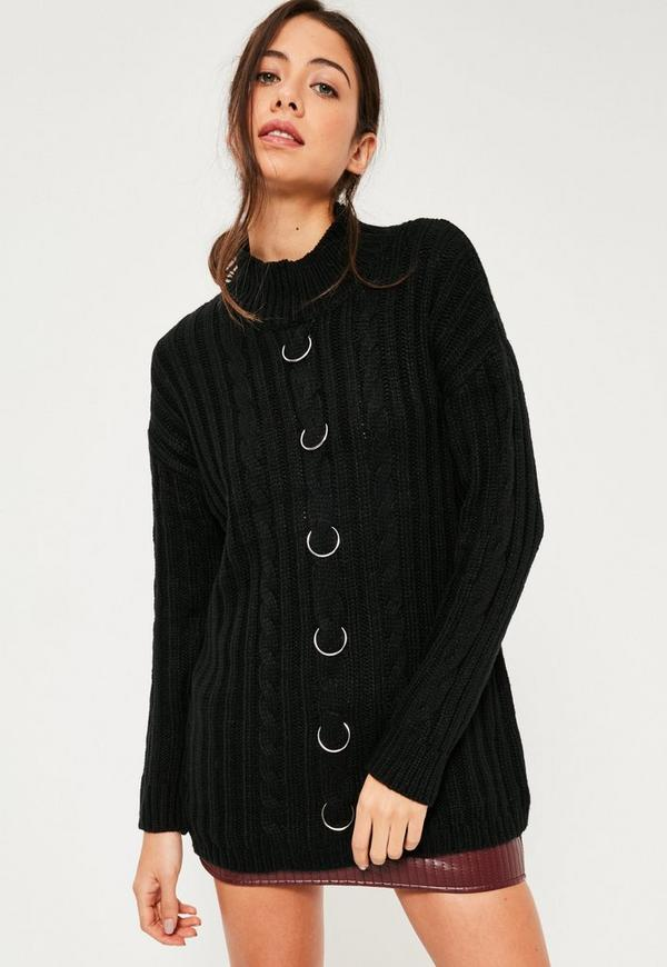 Ring Detail Jumper Black