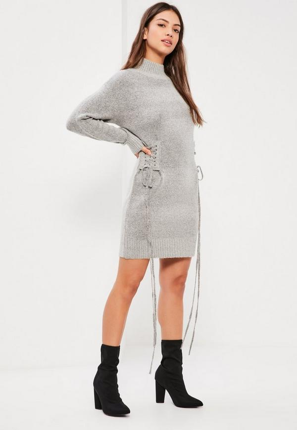 Grey Lace Up Slouchy Midi Jumper Dress