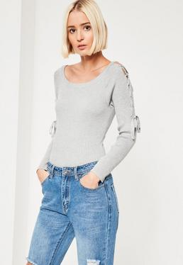 Grey Lace Up Bardot Sleeve Bodysuit