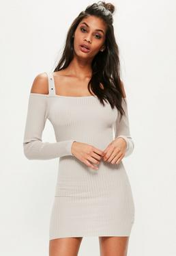 Grey Knitted Supported Bardot Ribbed Sweater Dress