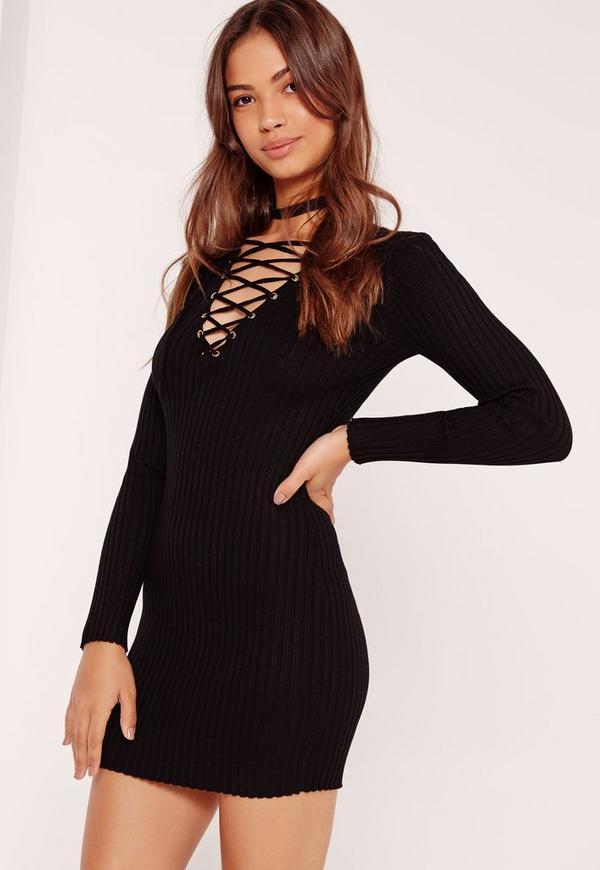 Lace Up Mini Jumper Dress Black