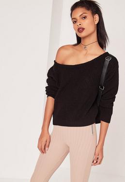 Schulterfreier kurzer Pullover in Schwarz