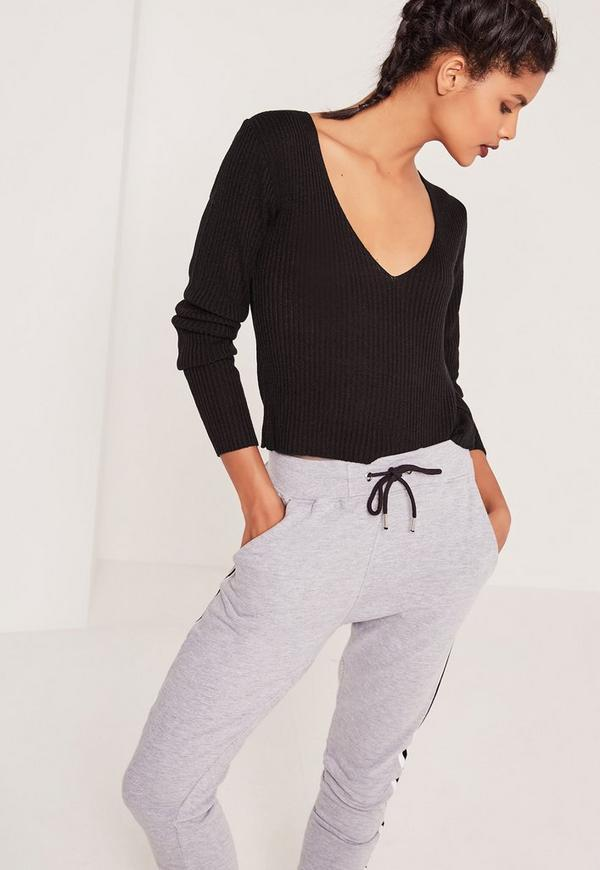 Basic V-Neck Ribbed Jumper Black
