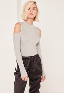 Cold Shoulder Bodysuit Grey