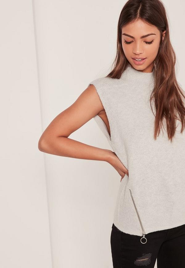 Brushed High Neck Zip Sleeveless Jumper Grey