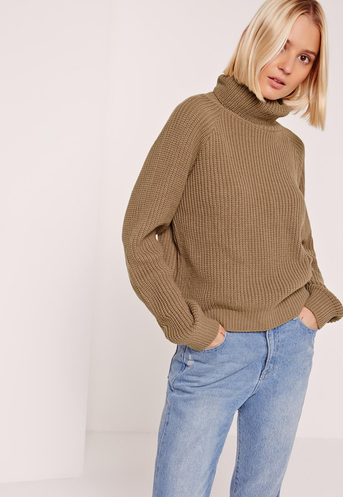 Brown Turtleneck Cropped Sweater | Missguided