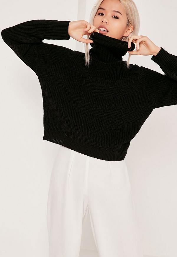 Roll Neck Crop Jumper Black
