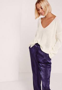 Cream V-Neck Slouch Basic Sweater