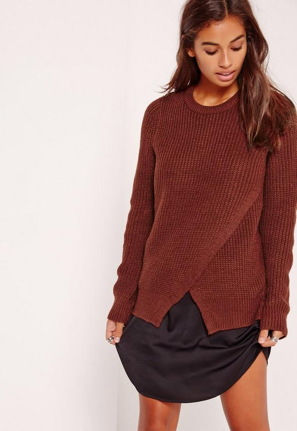 Wrap Front Jumper Brown