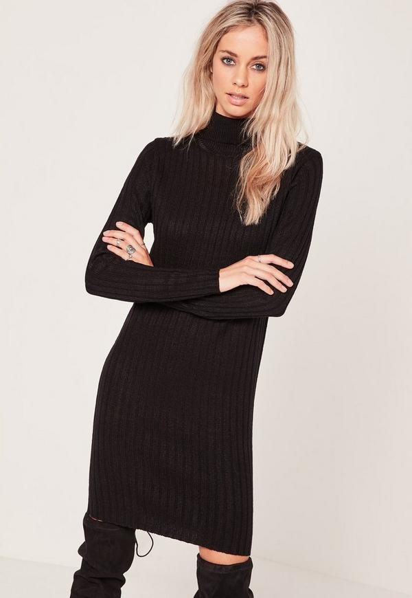 Ribbed Roll Neck Mini Jumper Dress Black